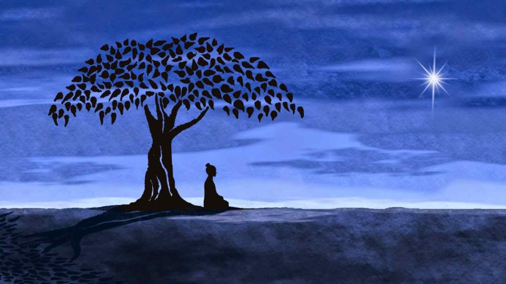 Spiritual awakening man sitting and meditation under the tree at night testing his awareness